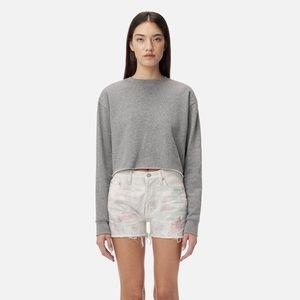 John Elliot Snyder Cropped Crewneck Sweater Grey